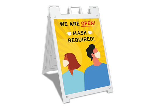 Sign-We are open mask required