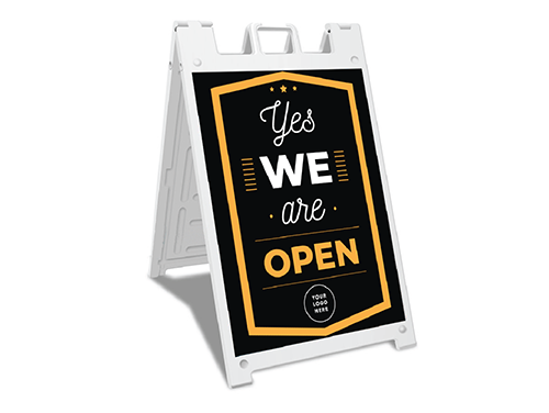 Sign-Yes we are open Black
